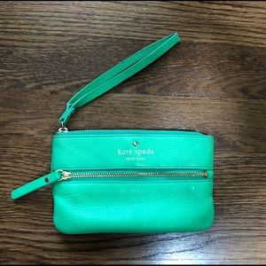"Kate Spade ♠️ ""Bee"" Pebbled Leather Wristlet Bag"